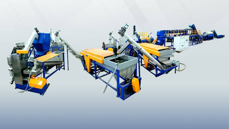 PET material crushing and washing production line