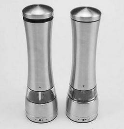 Electric stainless steel pepper & salt grinder