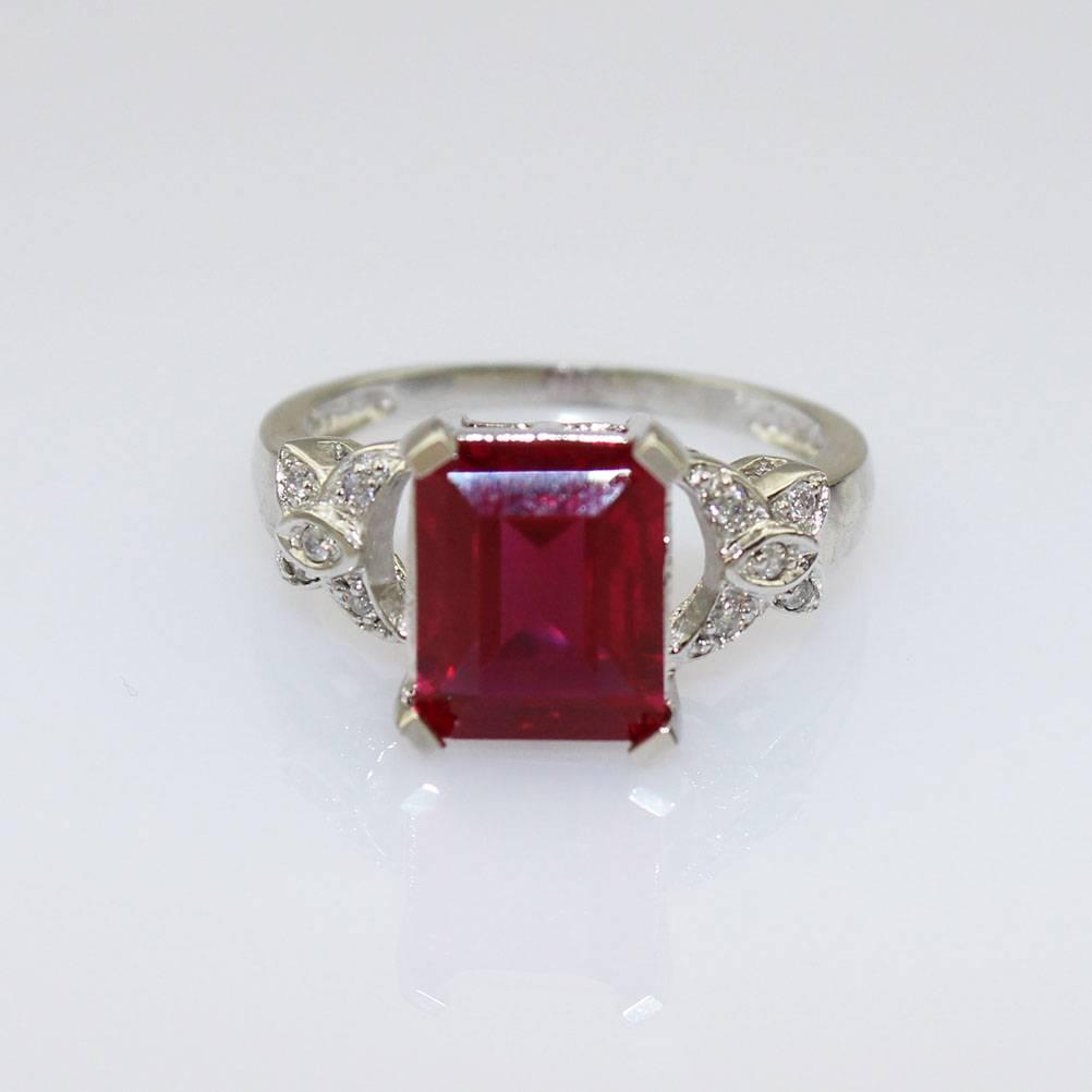 Sterling Silver Jewelry 925 Ruby Cubic Zircon Gemstone Ring (JY022)