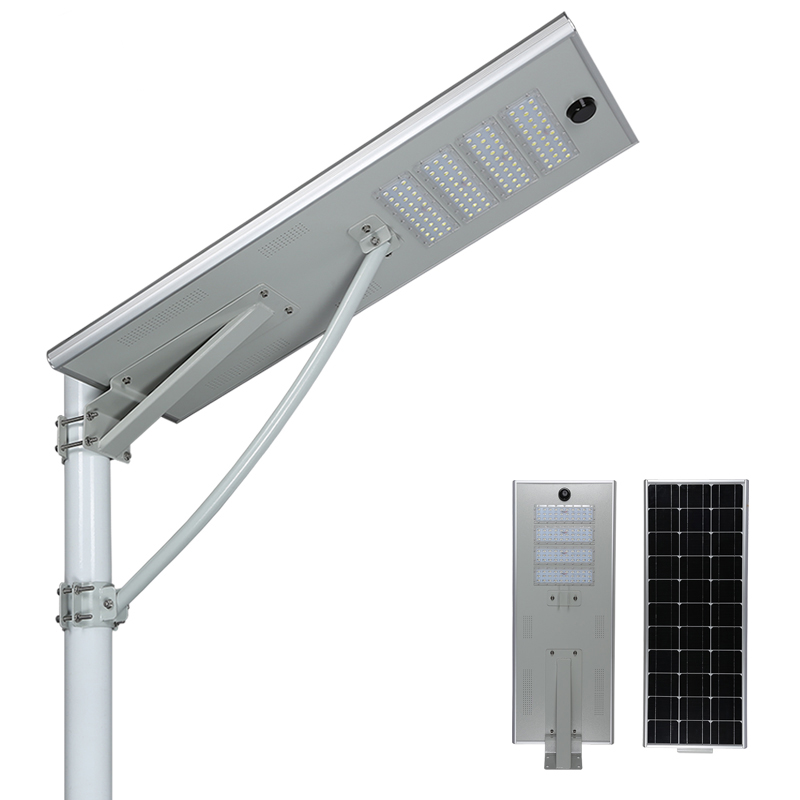 Solar street light integrated by solar panel and LED light for outdoor