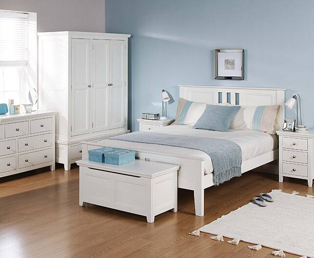 Wooden bedroom furniture solid wood bed with white painting