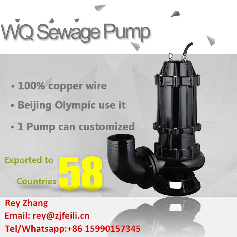 0.75KW household wastewater discharge pump 1hp submersible sewage pump for sewage suction