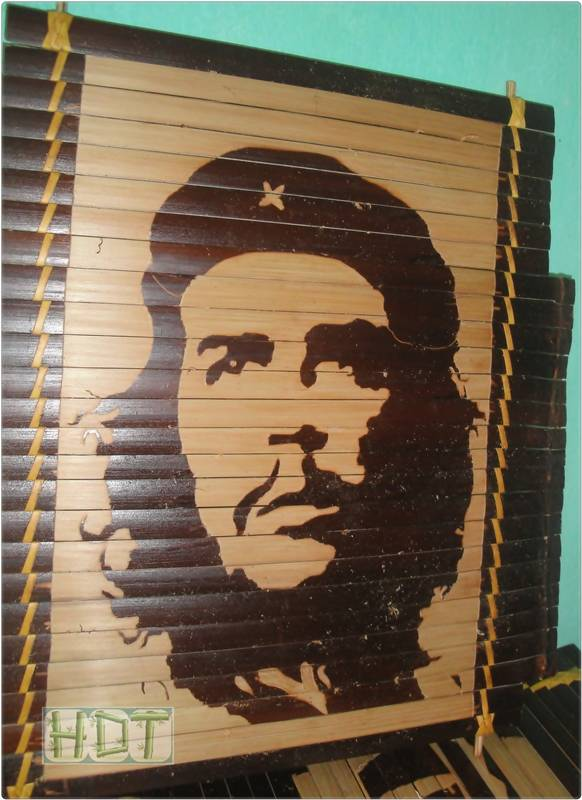 Shaving Smoked Bamboo Painting Portraits (Che Guevara Artwork)_ This Is Not Painted