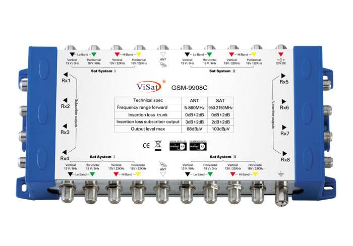 9 in 8 Satellite multiswitch