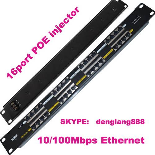 16 Port Passive Power Over Ethernet POE Injector Panel