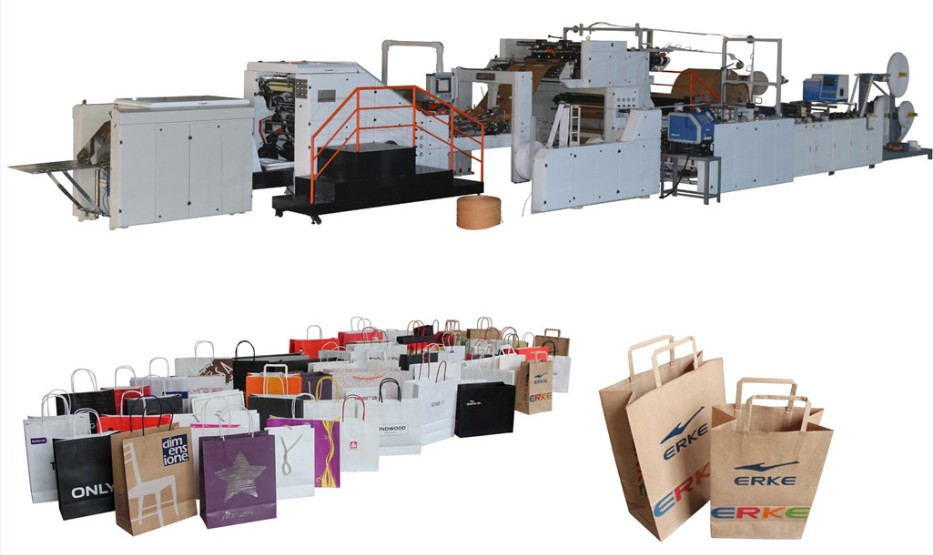 Flat Handles & Twisted Handles Automatic Paper Shopping Bag Making Machine