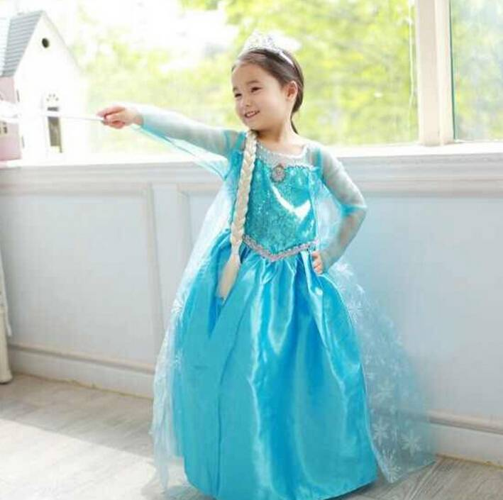2014 new arrive frozen dress, long sleeve lace dress, high quality children's clothes,princess dress