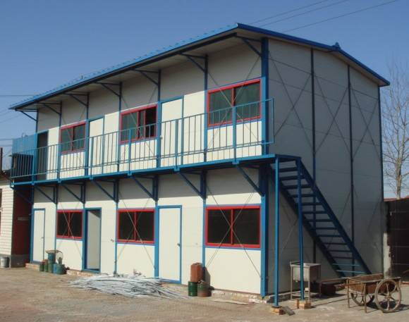 Two-storey fabricated colored steel movable house