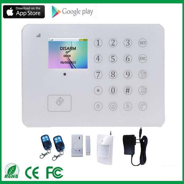 TFT diaplay home security alarm system touch screen gsm home security alarm system