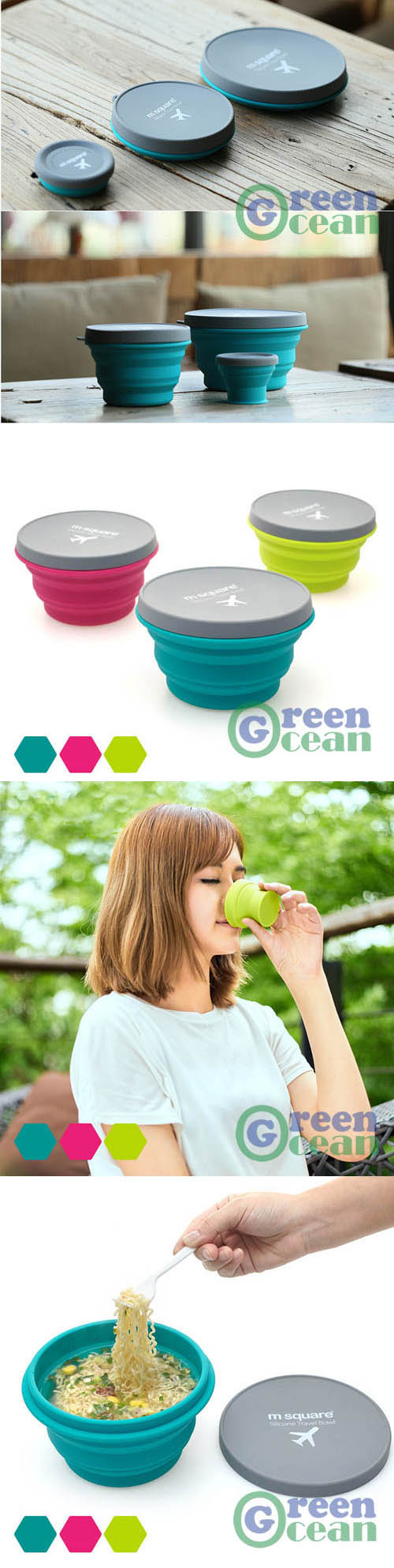 Portable convenient foldable silicone travel drinking cup and dinner bowl (S-90ml M-500ml L-1000ml)
