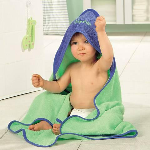 Kapuzen-Badetuch, Waschhandschuh, Lätzchen aus Frottier, Kapuzentuch, Baby Badetuch mit Kapuze