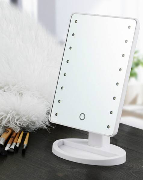 LED lighted cosmetic mirror with touch sensor