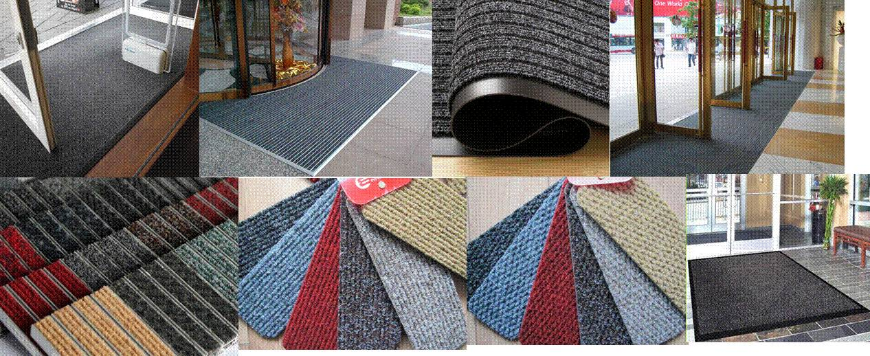 Hotel/Malls/Hospital use Ribbed/Berber Entrance matting+ vinyl/rubber backing
