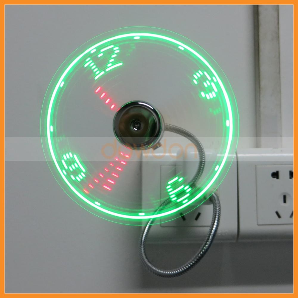 Flexible Gooseneck Mini USB LED Flashing Real Time Display Clock Fan