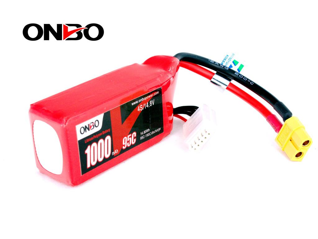 FPV Racing Drones quads Lipo Battery(XT60) 1000mAh 4S 14.8V 95C
