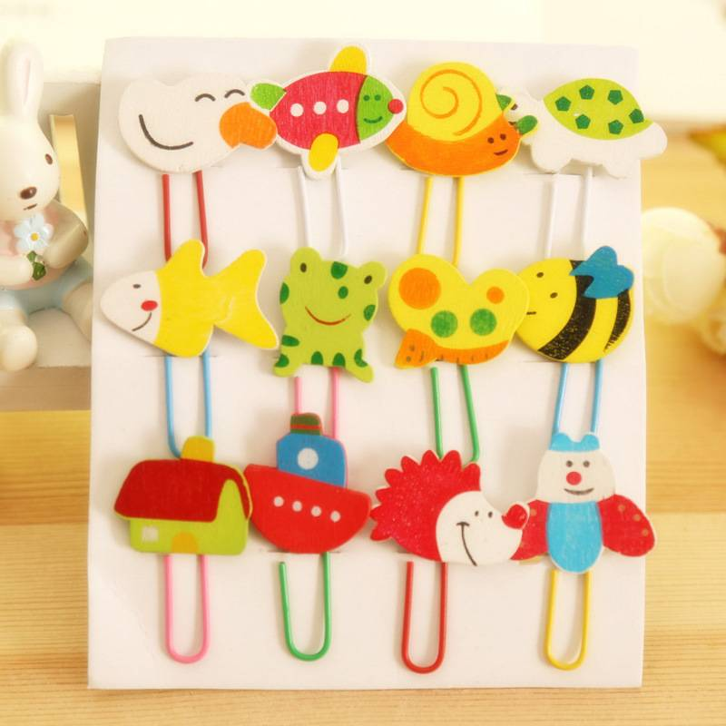 12 pcs cute animal wooden paperclip clips / bookmarks