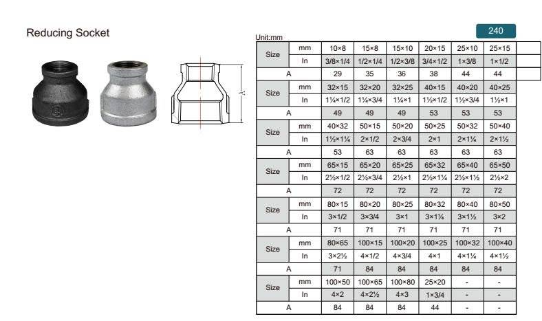 China Malleable iron pipe fitting Reducing socket-240 with high quality and proper price