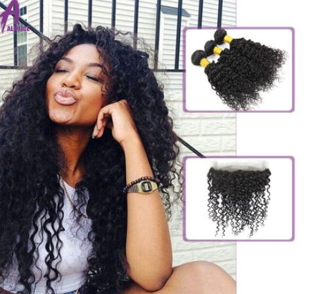 [8A]3 Bundles Brazilian Hair Weave Water Wave with 360 Lace frontal