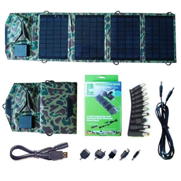 14watt foldable solar bag charger include voltage controller with dual output for iPad / iPhone