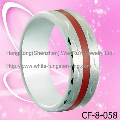 Quality Red Resin inlay Tungsten Ring for Men