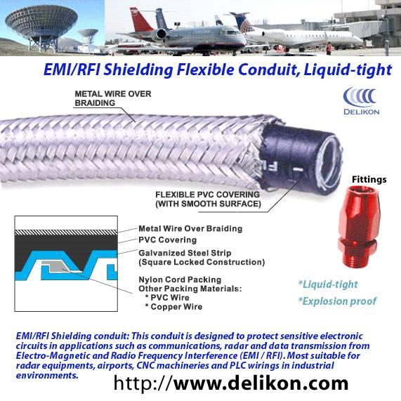 EMc shielded braided flexible liquidtight metal conduit