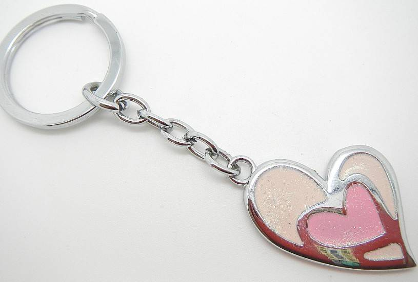 Hot selling heart-shape charms Valentine's alloy keychains