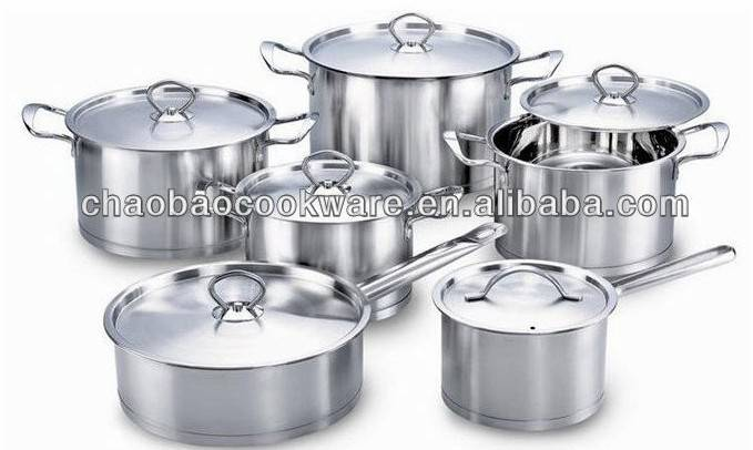 Stainless steel cookware set 12pcs