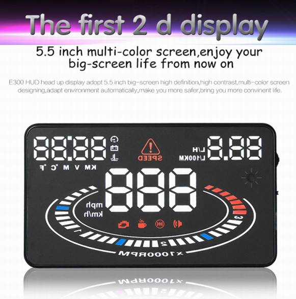 Latest 5.5 Inch E300 HUD Multi-color LED Car Head Up Display 2D Vision Car Universal Car HUD Display