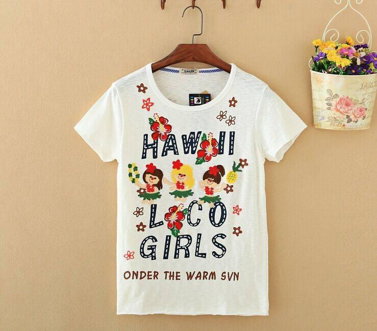 2015 New Lady Girl and Flower Short SleeveT-Shirt