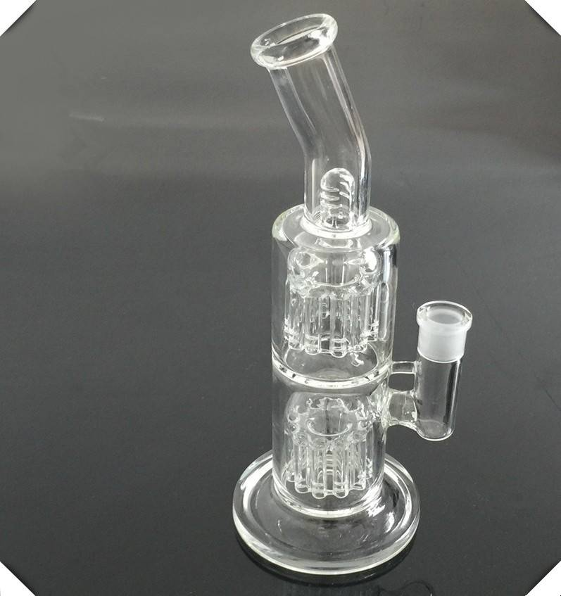 Double Fork Filter Glass Bong Glass Pipes High Boron Silicon Water Smoking Pipe With 1 Glass Bowl 24