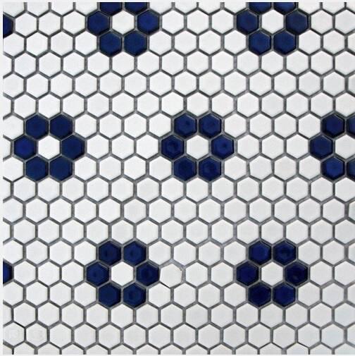 Blue and White Hexagon ceramic mosaic