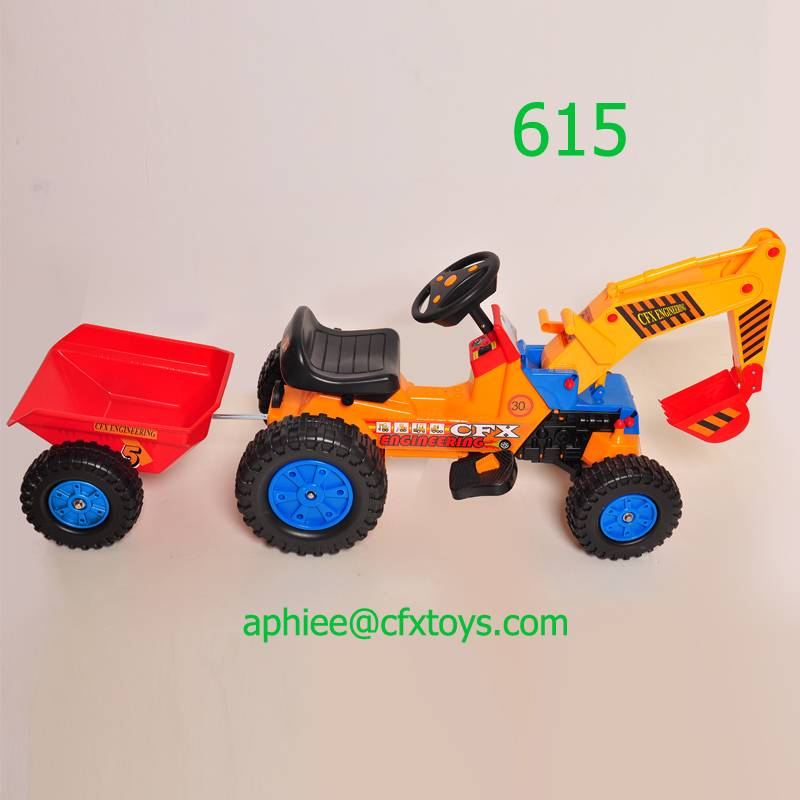 classic electric toy car child scooter toy digger tractor trailer 615