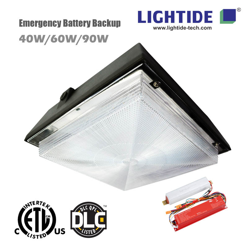 Lightide's Emergency LED Canopy for Gas Station Lights, 60W, Battery Backup, 100-277vac, DLC_CE