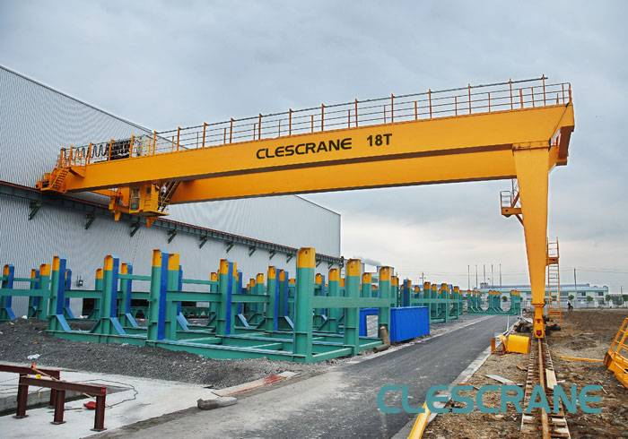 CWB Series Double Girder Semi Gantry Cranes with Electric Winches