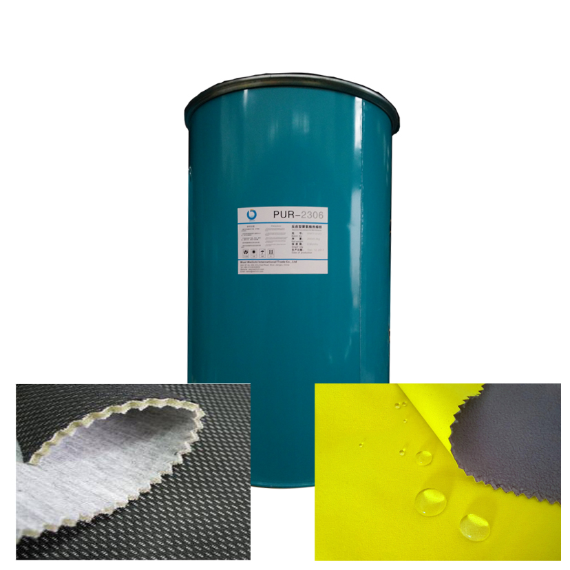 PUR hot melt adhesive for fabric to membrane lamination