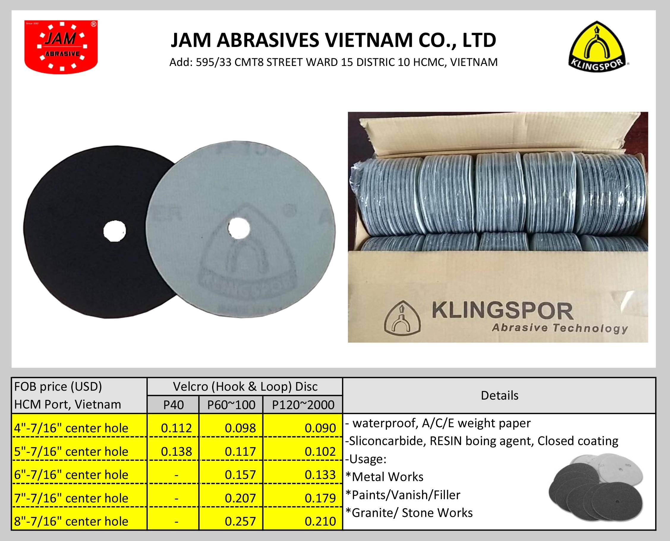 KLINGSPOR 6inh DISC, Velcro, Siliconcarbide