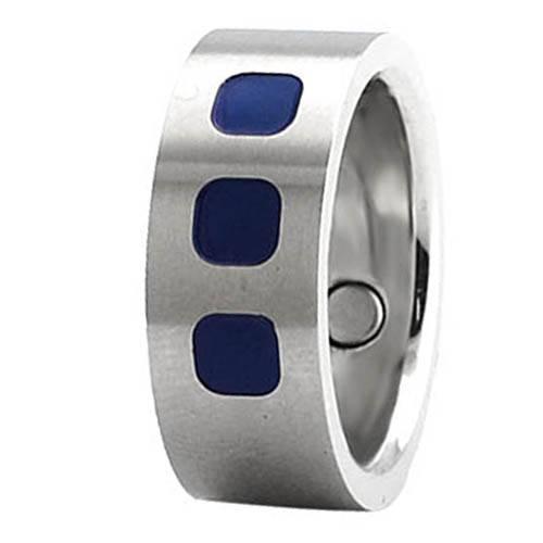 Titanium blue enamel magnetic ring