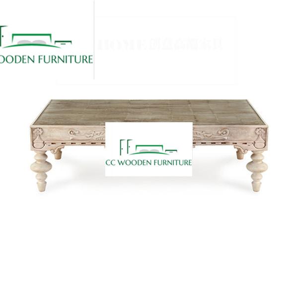 Solid wood carved coffee table tea table