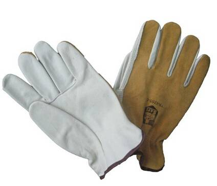 Promotional grain leather mechanic safety gloves