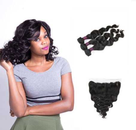 [9A]3 Bundles Indian Loose Wave Hair Weave With Lace Frontal