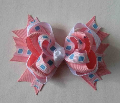 hair bows,boutique bow,blue square printed layer bows,exotic bow,hair accessories made to match hair