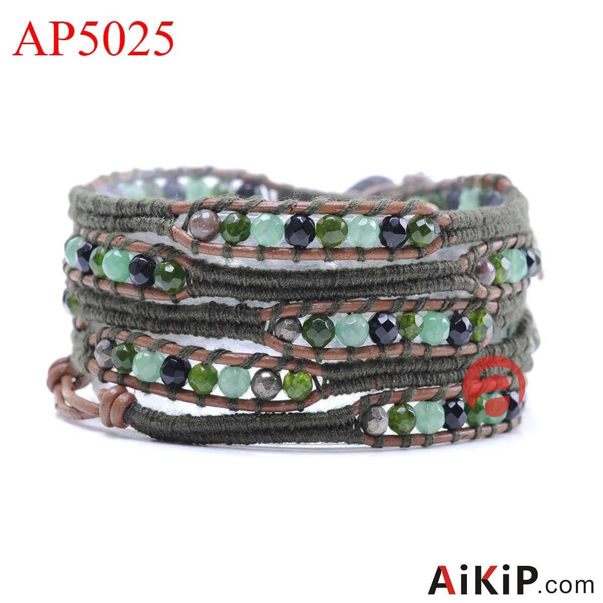 Green Aventurine black agate malay jade wool leather stainless steel clasp bracelet