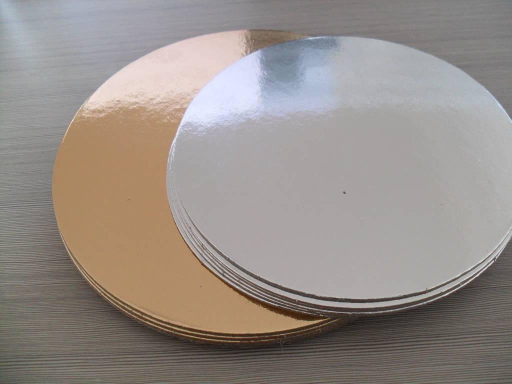 Gold round die cut cardboard cake board