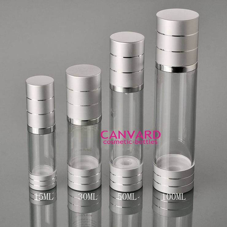 15ml-30ml-50ml-100ml silver aluminium plastic airless pump bottle packaging, airless serum bottle