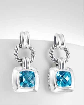 Women Fashion Sterling 925 Silver Blue Topaz Cushion Earrings
