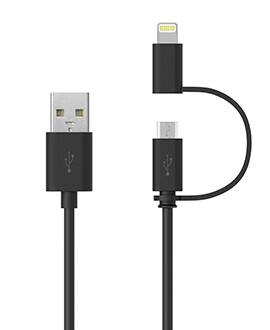 2in1 3FT Tangle Free Lightning and Micro USB Charging/Sync Cables for iPhone 6s, 6s Plus, 6, 6 Plus,