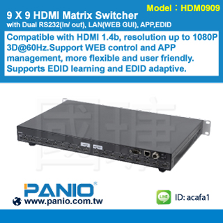 9 X 9 HDMI Matrix Switcher with RS232