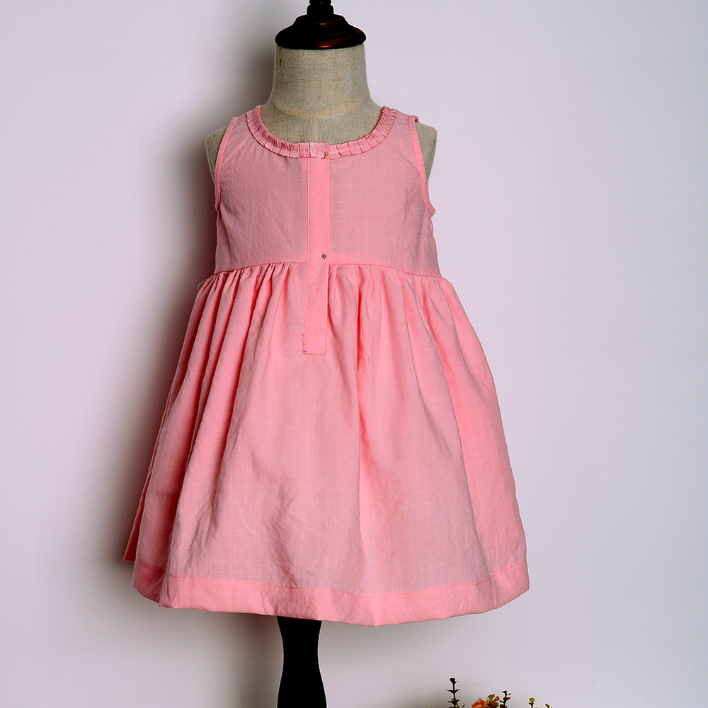 Sleeveless girls plain cotton dress designs 2017 children casual dress