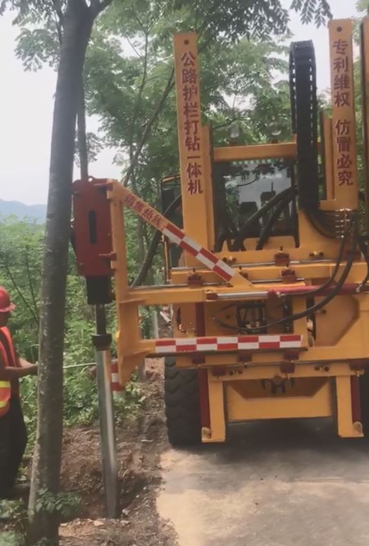Sell road safety construction hydraulic guardrail drilling rig pile driver