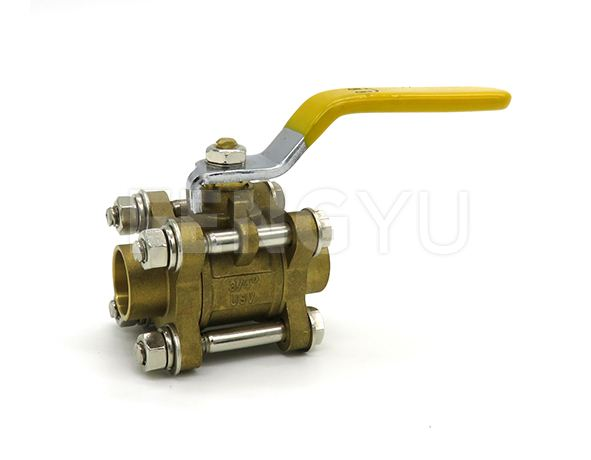 Three piece brass ball valve